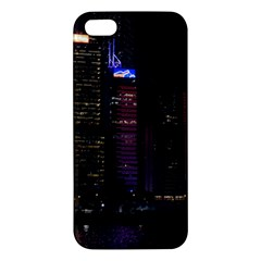 Hong Kong China Asia Skyscraper Apple Iphone 5 Premium Hardshell Case by Amaryn4rt