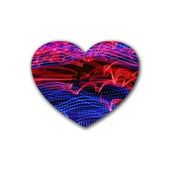 Lights Abstract Curves Long Exposure Heart Coaster (4 Pack)  by Amaryn4rt