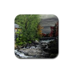 Landscape Summer Fall Colors Mill Rubber Coaster (square)  by Amaryn4rt