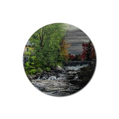 Landscape Summer Fall Colors Mill Rubber Coaster (round)  by Amaryn4rt