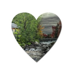 Landscape Summer Fall Colors Mill Heart Magnet by Amaryn4rt