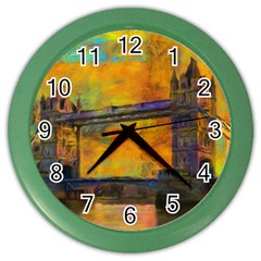 London Tower Abstract Bridge Color Wall Clocks by Amaryn4rt