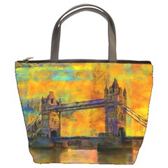 London Tower Abstract Bridge Bucket Bags by Amaryn4rt