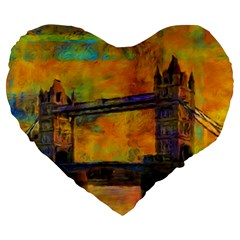London Tower Abstract Bridge Large 19  Premium Flano Heart Shape Cushions by Amaryn4rt