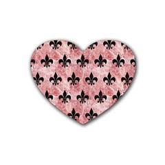 Royal1 Black Marble & Red & White Marble Rubber Heart Coaster (4 Pack) by trendistuff