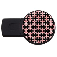 Puzzle1 Black Marble & Red & White Marble Usb Flash Drive Round (2 Gb) by trendistuff