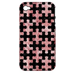 Puzzle1 Black Marble & Red & White Marble Apple Iphone 4/4s Hardshell Case (pc+silicone) by trendistuff