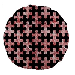 Puzzle1 Black Marble & Red & White Marble Large 18  Premium Round Cushion  by trendistuff