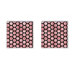 Hexagon2 Black Marble & Red & White Marble (r) Cufflinks (square) by trendistuff