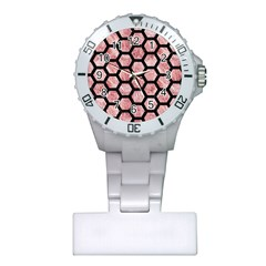 Hexagon2 Black Marble & Red & White Marble (r) Plastic Nurses Watch by trendistuff
