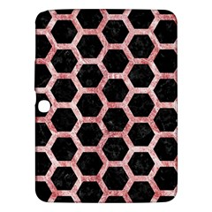 Hexagon2 Black Marble & Red & White Marble Samsung Galaxy Tab 3 (10 1 ) P5200 Hardshell Case  by trendistuff