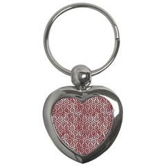 Hexagon1 Black Marble & Red & White Marble (r) Key Chain (heart)