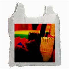 Plastic Brush Color Yellow Red Recycle Bag (two Side)  by Amaryn4rt