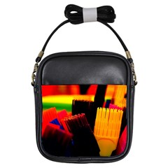 Plastic Brush Color Yellow Red Girls Sling Bags