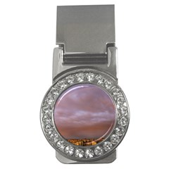 Rain Rainbow Pink Clouds Money Clips (cz)