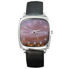 Rain Rainbow Pink Clouds Square Metal Watch by Amaryn4rt