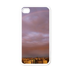 Rain Rainbow Pink Clouds Apple Iphone 4 Case (white)