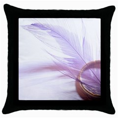 Ring Feather Marriage Pink Gold Throw Pillow Case (black) by Amaryn4rt