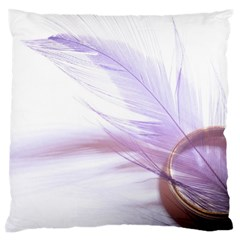Ring Feather Marriage Pink Gold Large Flano Cushion Case (one Side) by Amaryn4rt