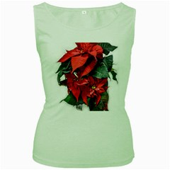 Star Of Bethlehem Star Red Women s Green Tank Top by Amaryn4rt