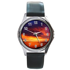 Sunset The Pacific Ocean Evening Round Metal Watch by Amaryn4rt
