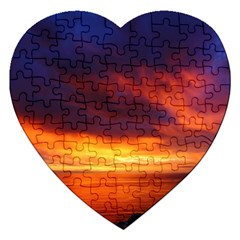Sunset The Pacific Ocean Evening Jigsaw Puzzle (heart) by Amaryn4rt
