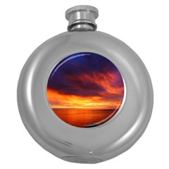 Sunset The Pacific Ocean Evening Round Hip Flask (5 Oz) by Amaryn4rt
