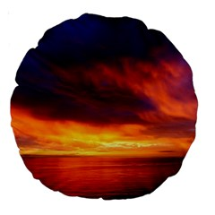 Sunset The Pacific Ocean Evening Large 18  Premium Round Cushions by Amaryn4rt