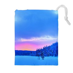 Winter Landscape Snow Forest Trees Drawstring Pouches (extra Large) by Amaryn4rt