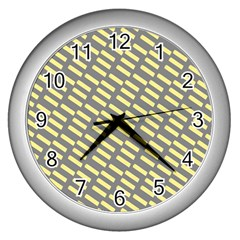 Yellow Washi Tape Tileable Wall Clocks (silver)  by AnjaniArt