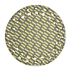 Yellow Washi Tape Tileable Ornament (round Filigree)
