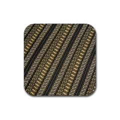 Batik Cap Parang Gendreh Kombinas Rubber Square Coaster (4 Pack)  by AnjaniArt