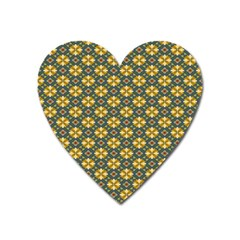 Arabesque Flower Yellow Heart Magnet by AnjaniArt