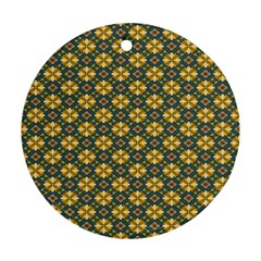 Arabesque Flower Yellow Round Ornament (two Sides)