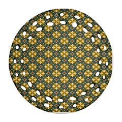 Arabesque Flower Yellow Ornament (round Filigree)