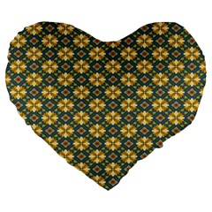 Arabesque Flower Yellow Large 19  Premium Heart Shape Cushions by AnjaniArt