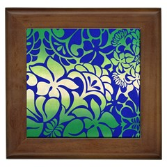 Batik Fabric Flower Framed Tiles