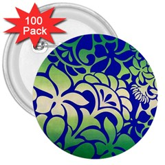Batik Fabric Flower 3  Buttons (100 Pack)  by AnjaniArt