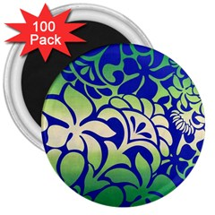 Batik Fabric Flower 3  Magnets (100 Pack)