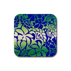Batik Fabric Flower Rubber Square Coaster (4 Pack)  by AnjaniArt