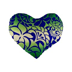 Batik Fabric Flower Standard 16  Premium Flano Heart Shape Cushions by AnjaniArt