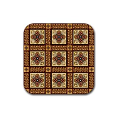 Batik Flower Brown Rubber Square Coaster (4 Pack)  by AnjaniArt