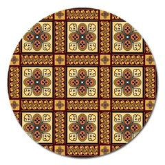 Batik Flower Brown Magnet 5  (round) by AnjaniArt
