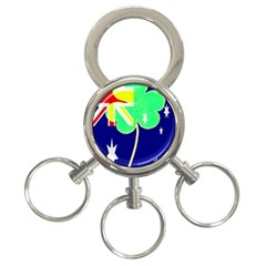 St  Patrick Australia And Ireland Irish Shamrock Australian Country Flag  3 Ring Key Chains by yoursparklingshop