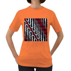 Batik Jogja Red Black Women s Dark T Shirt