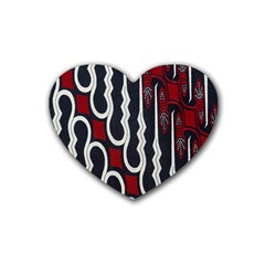 Batik Jogja Red Black Rubber Coaster (heart)