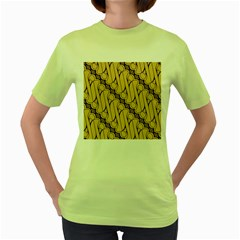 Batik Parang Rusak Seamless Women s Green T Shirt by AnjaniArt