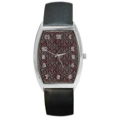 Hexagon1 Black Marble & Red & White Marble Barrel Style Metal Watch by trendistuff