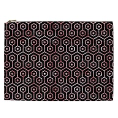 Hexagon1 Black Marble & Red & White Marble Cosmetic Bag (xxl)