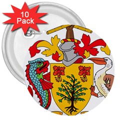 Barbados Coat Of Arms 3  Buttons (10 Pack)  by abbeyz71